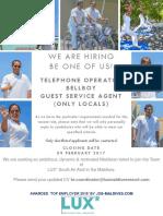 Job Vancancy (Bellboy, Telephone Operator, GSA)