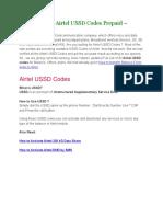 Full List of All Airtel USSD Codes Prepaid