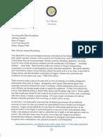 Letter from Oregon Gov. Brown to Oregon Attorney General Ellen Rosenblum