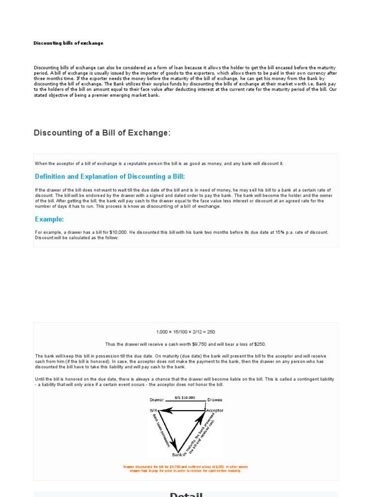 Discounting bills of exchange negotiable instrument discounting altavistaventures Images