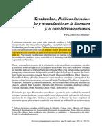 [Reseña] Oliva - Kraniauskas, Políticas Literarias en América Latina