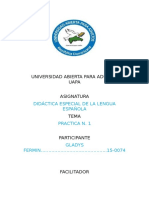Didactica Especial de La Lengua Española. Tarea #1 Gladis Fermin