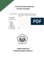 Log Book Keuangan Penelitian 2013