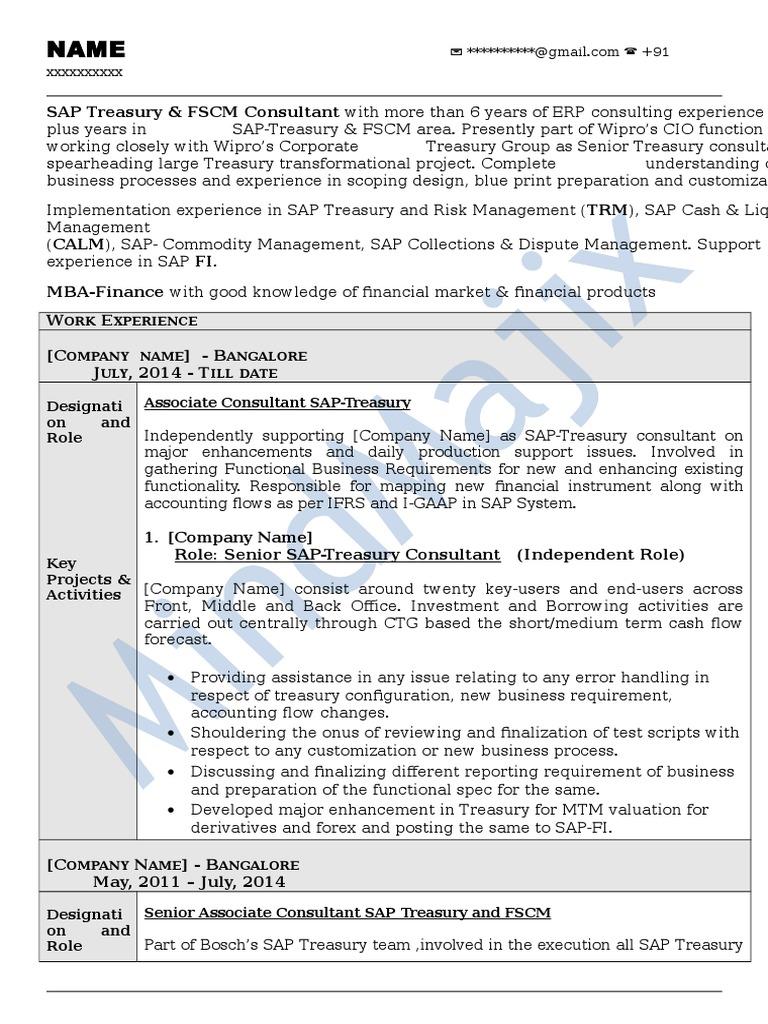 sap fscm sample resume 1