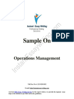 Sample Report on Operations Management By Instant Essay Writing