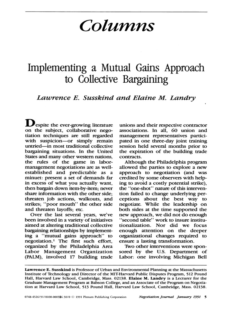 approaches to collective bargaining