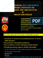Pathyaapathya (Dos and Donts)Ayurvedic Advocacy on Conducive Diet and Lif