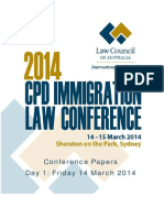 2014 CPD Immigration Law Conference Papers Day 1 - As at 18 March 2014