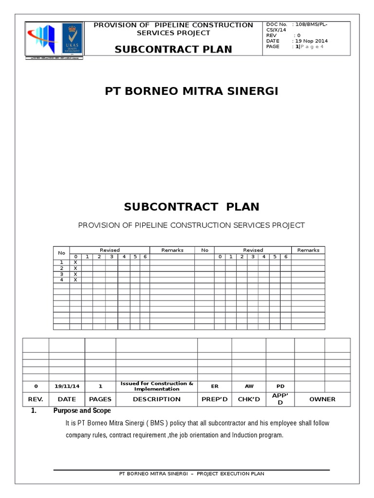 1 8 Subcontract Plan | Employment | Business