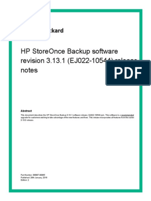 HP StoreOnce Backup Software 3 13 1 Release Notes | Computer