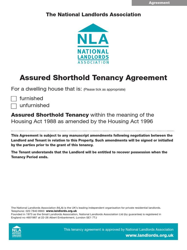 Nla Assured Shorthold Tenancy Agreement Ebook