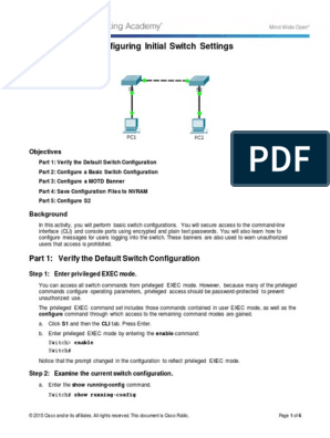 2 2 3 4 Packet Tracer - Configuring Initial Switch Settings