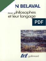 Les Philosophes Et Leur Langage Belavel