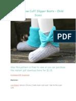Crochet Bow Cuff Slipper Boots – Child Sizes