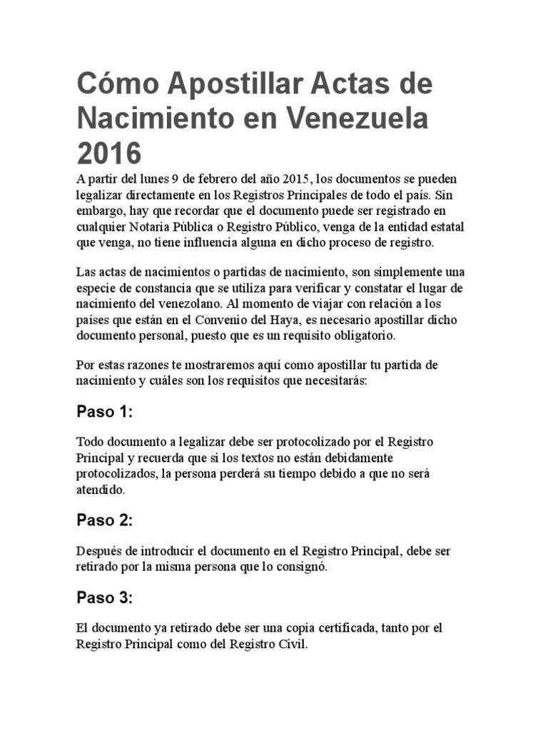 Cómo Apostillar Actas de Nacimiento en Venezuela 2016