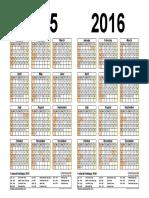 Two Year Calendar 2015 2016 Landscape