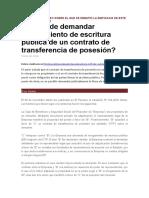 Otorgamiento de Escritura Publica de Un Contrato de Transferencia de Posesion