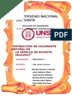 Extracción de Colorante Bixina Achiote Procesos II