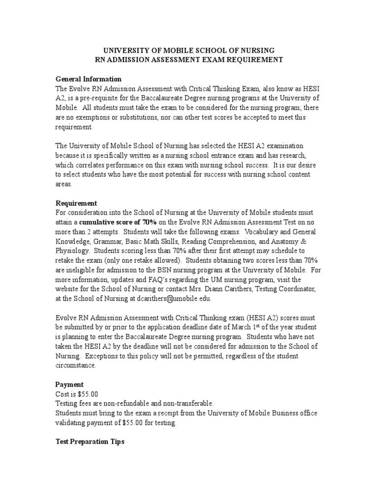 HEIS Admission | Test (Assessment) | Nursing
