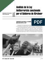 Analisis de Ley Antiterrorista
