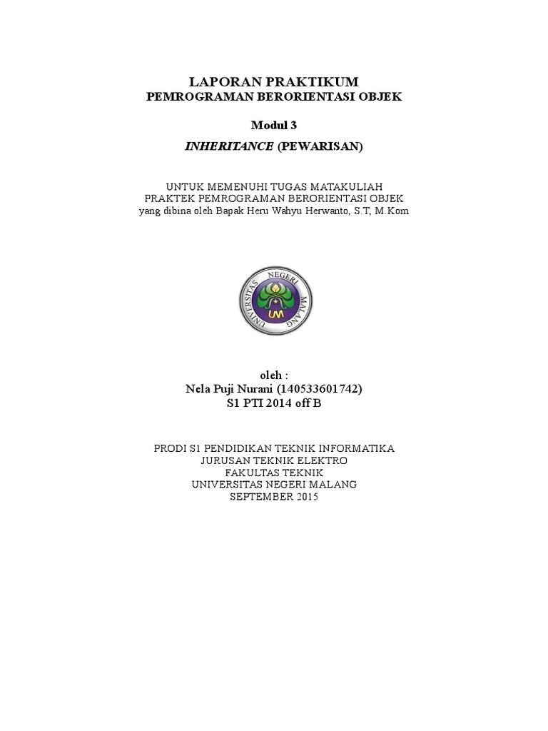 Laporan 3 Pemrograman Berorientasi Objek Pbo Inheritance Pewarisan