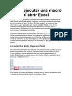 Cómo Ejecutar Una Macro Al Abrir Excel