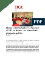 03-02-2017 Reune Gilberto Gutierrez Sanchez Al Pri en Sonora Con Bancada de Diputados Priistas