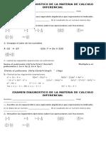 Examen Diagnostico de La Materia de Calculo Diferencial