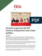 03-02-2017 Directora General Del Dif Sonora Comparecio Ante Clase Politica