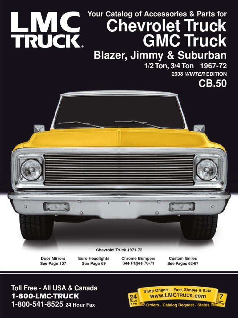 1967 1972 Chevy Gmc Truck Parts Catalog Headlamp Brake Wiring Harness