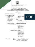 Syllabus Biología Molecular 2016-II