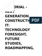 Editorial - Next generation construction IT- technology foresight, future studies, roadmapping and scenario planning2009_12.content.05150.docx