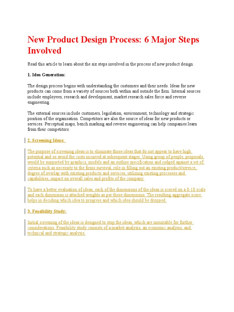 New Product Design Process Feasibility Study Internal Rate Of Return