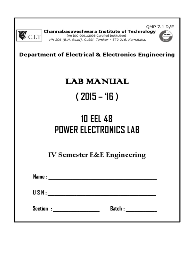Pe Lab Manual 4th Sempdf Power Electronics Inverter Time Delay Circuit Using A Ujt And Two Scrs Diagram