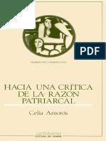 Celia Amorós-Hacia una crítica de la razón patriarcal
