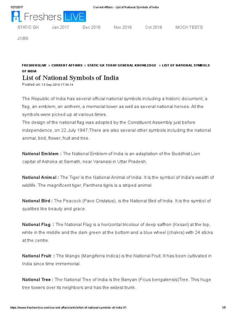 Current affairs list of national symbols of indiapdf buycottarizona Image collections