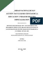 Universidad Nacional de San Agustin Facultad de Ciencias de La Educacion Unidad de Segunda Especialisacion