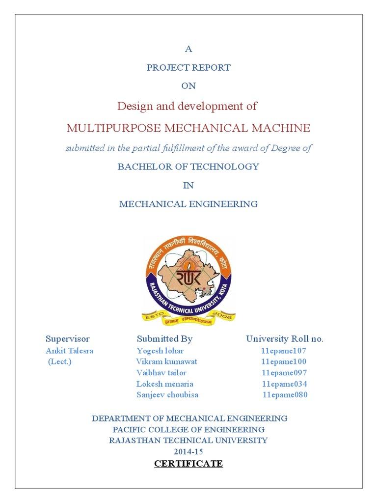 Multipurpose Mechanical Machine Project Report Drill Machines