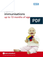A Guide to Immunisations Up to 13 Months of Age