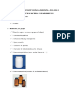 Materiales Salida de Campo Química Ambiental