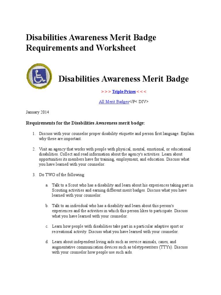 Disabilities awareness merit badge requirements and worksheet disabilities awareness merit badge requirements and worksheet disability scouting robcynllc Gallery