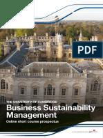 Business Sustainability Management Prospectus