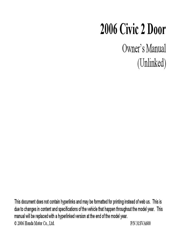 manual de usuario honda civic 2006.pdf   airbag   seat belt  scribd