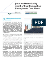The Impacts on Water Quality From Placement of Coal Combustion Waste In Pennsylvania Coal Mines