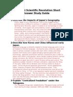 unit 9 part 2 clemente- japan and scientific revolution short answer study guide 1