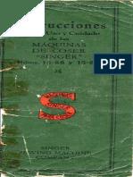 Manual de Usuario Máquina de Coser Singer 15-88 y 15-89 de 1940