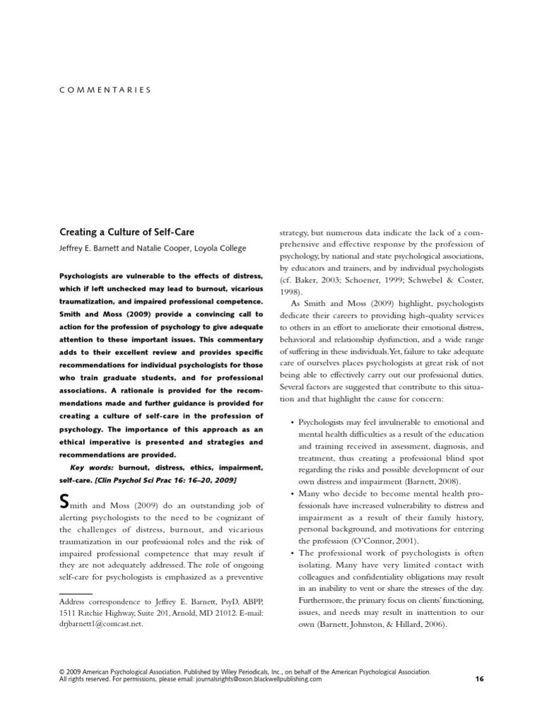 Barnett (2009)  Creating a Culture of Self-Care | Clinical