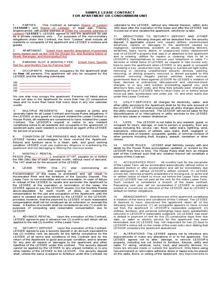 Captivating Lease Contract For Apartment Or Condominum Unit Sample.pdf   Lease   Civil  Law (Legal System)