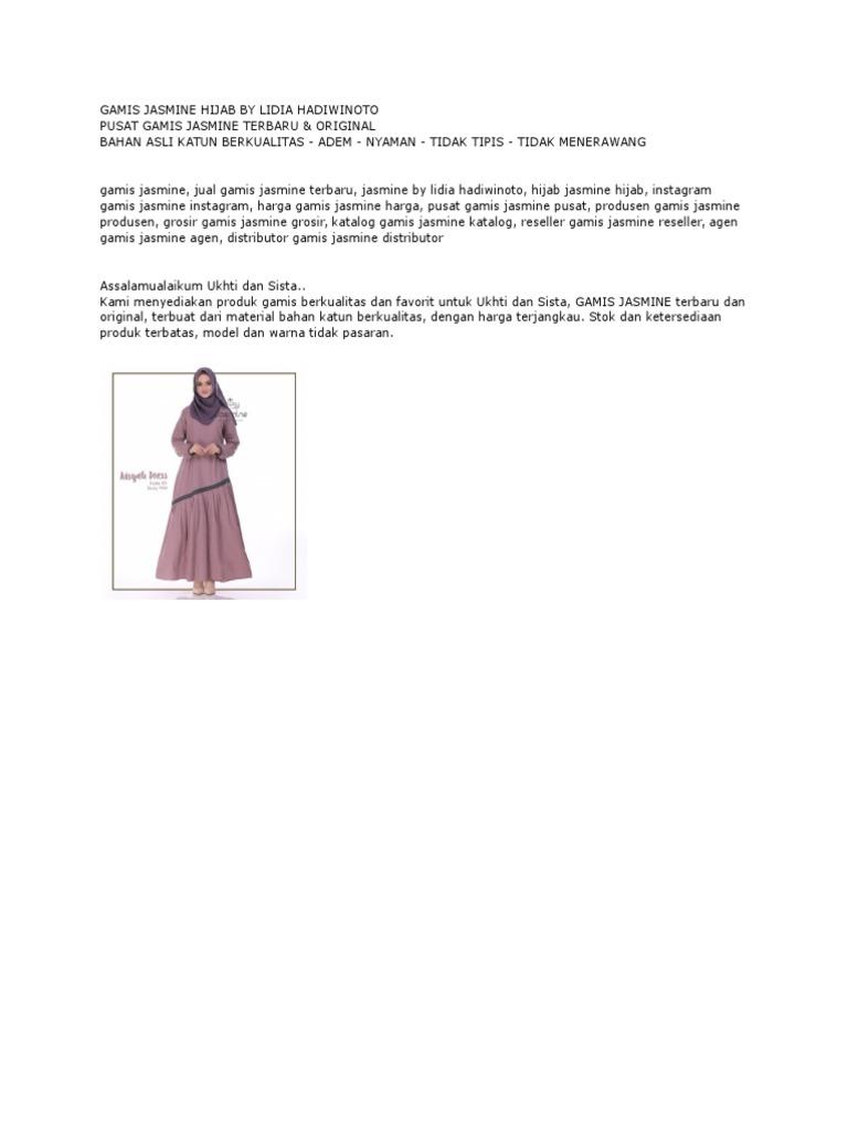Gamis Jasmine Hijab By Lidia Hadiwinoto Pusat Gamis Jasmine Terbaru