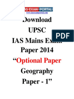 Download UPSC IAS Mains Exam Paper 2014 Optional Geography Paper 1 Www.iasexamportal.com